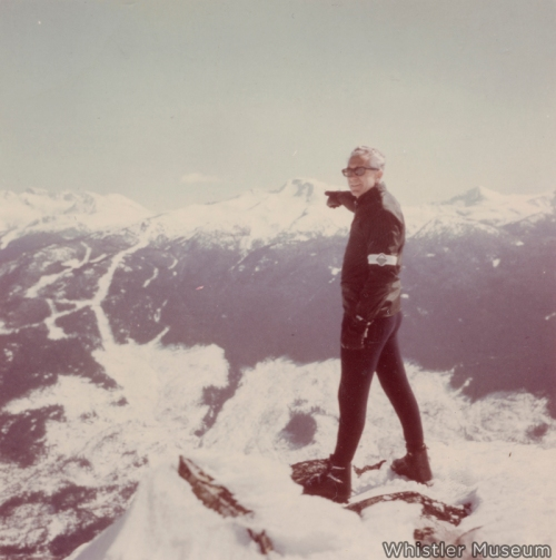One of the most iconic images in Whistler's history: Franz Wilhelmson points to his new ski resort, winter 1966.