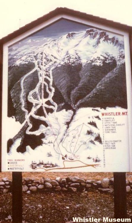 A Whistler Mountain trail map from the simpler days