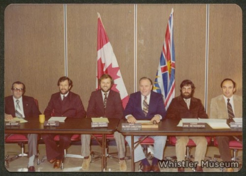 Whistler's first council. Left to Right: Bob Bishop, Al Raine, Geoff Pearce (municipal clerk & treasurer), Pat Carleton, John Hetherington, Garry Watson