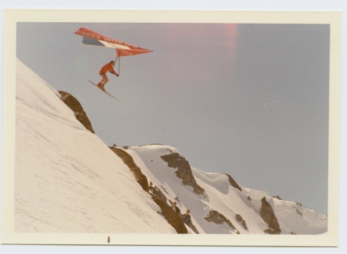 Whistlerites have been pushing the envelope for years. Here, a hanglider gets rad on Whistler Mountain, 1970s.