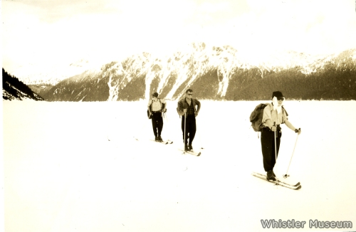 Skiing across a still-frozen Garibaldi Lake.