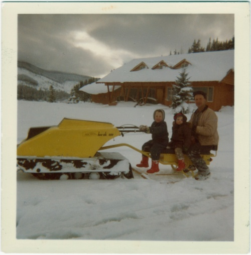 "Dick with his little sled-groms on a neighbour's sled, Ron Dent's ""Dentmobile,"" 1965"