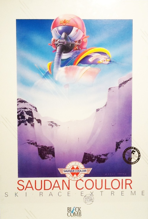 One of the amazing Saudan Couloir Ski Race Extreme posters designed by Brent Lynch. These retro classics can be found in hardcore homes throughout the valley