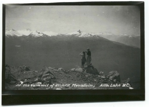 "Alex Philip and guest ""At the summit of Whistle Mountain,"" 1920s."