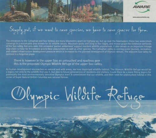 The cover of a multi-page pamphlet promoting Olympics-related wilderness conservation, produced by AWARE.