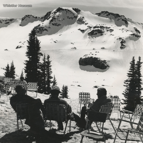 Franz Wilhelmsen, an unidentified man, and Jack Bright (from l to r), overlooking their kingdom. early 1980s (after Jack had stopped working for Whistler Mountain).