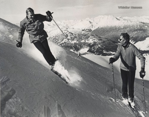 "The classic image of Jack Bright (right) skiing Whistler with ""Diamond Jim"" McConkey. Photo taken ca. before toques were invented (1972, actually)."