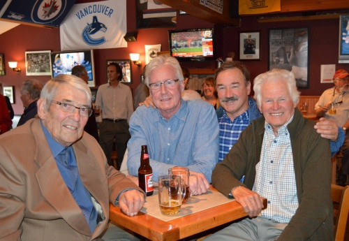 Peter Alder, Bruce Watt, Roger McCarthy, and Jim McConkey have a drink and reminisce about Whistler's early days.