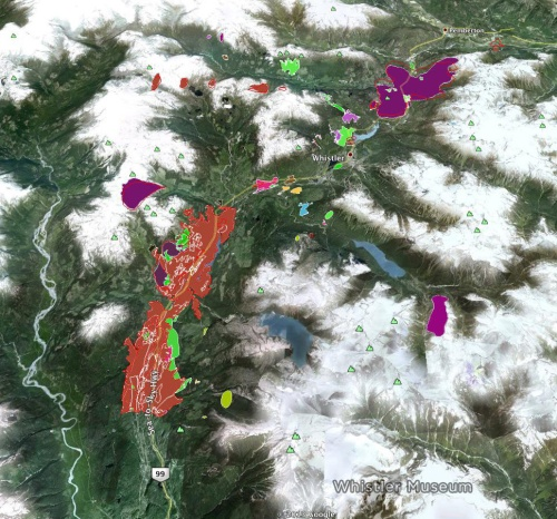 Major wildfires in the Whistler region from the last 100 years. The large purple blotch at the top right represents the 1926 Soo/Green fire.