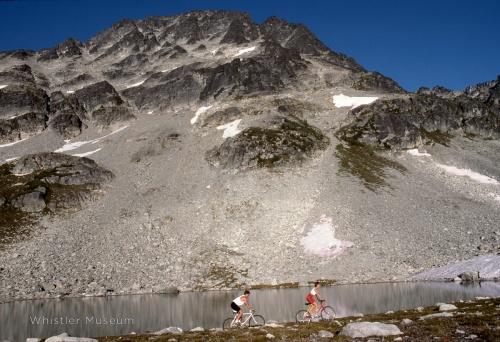 Early mountain biking on Blackcomb Mountain. Greg Griffith photo.