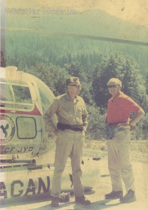 Franz Wilhelmsen and unidentified man with an OK Heli, 1960s.