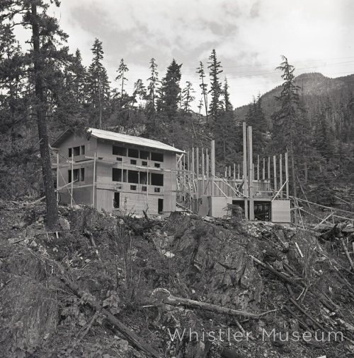 The lodge under construction