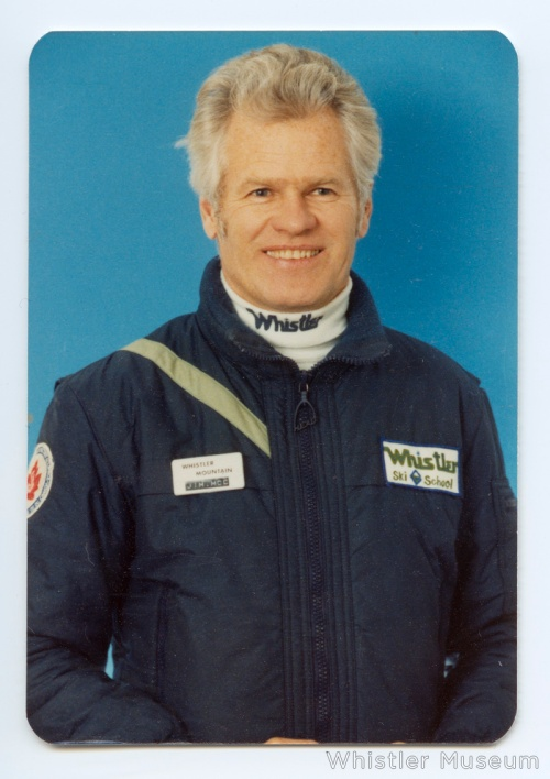 Jim McConkey posing for a formal staff photo in his Whistler Ski School uniform.