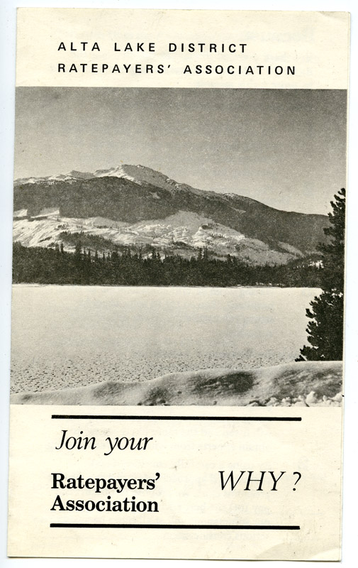 Alta Lake District Ratepayer Association pamphlet.