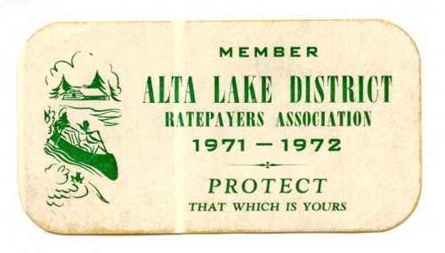 1971-1972 Alta Lake District Ratepayer Association sticker