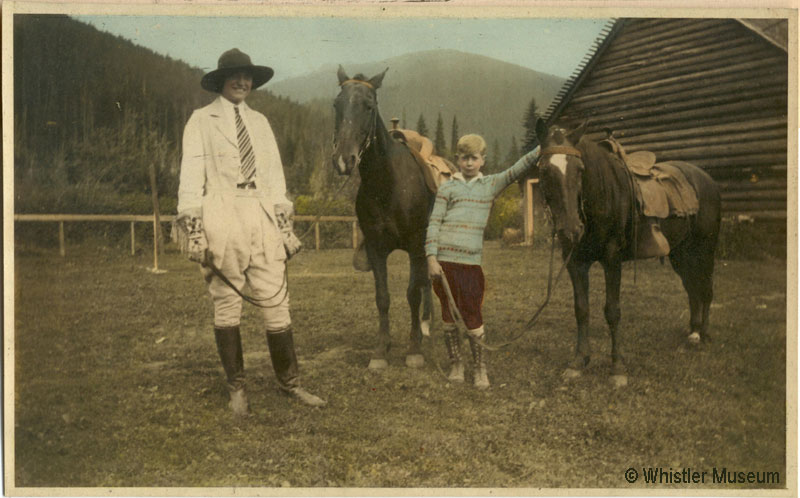 Myrtle and guest with horses, ca. 1935. Philip Collection.