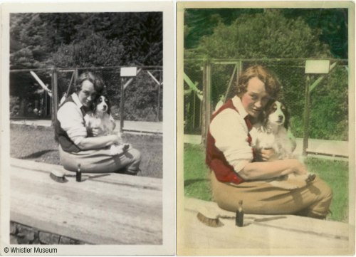 Example of monochrome photograph with and without hand-colouring. Myrtle and Binkie, ca. 1930. Philip Collection.