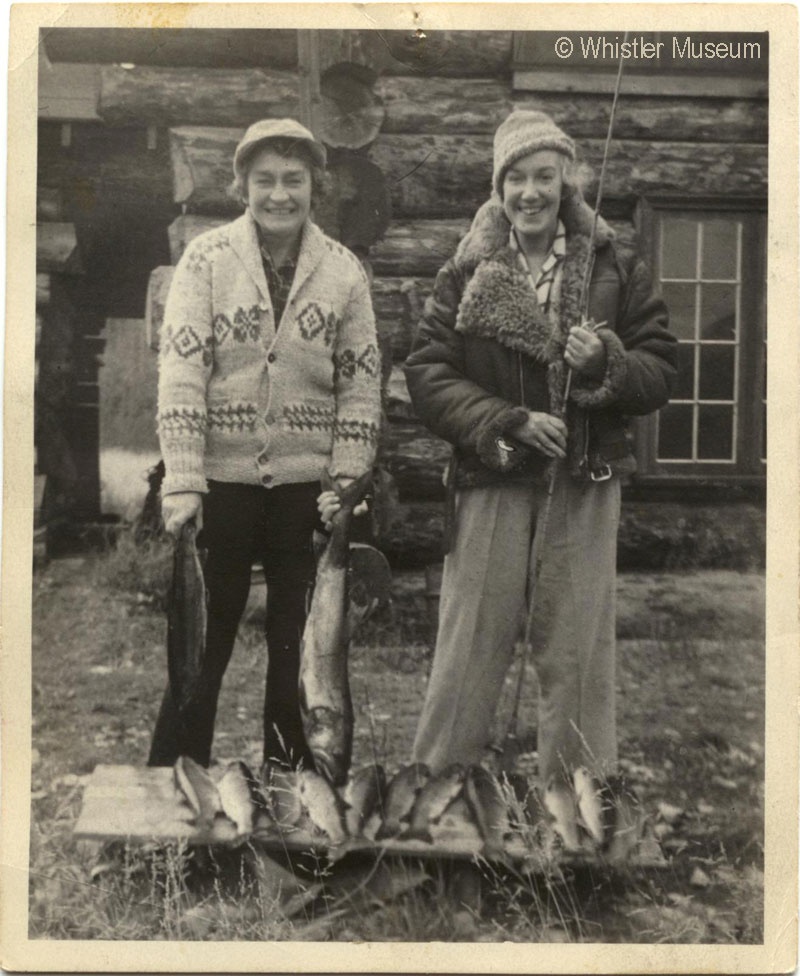 Myrtle Philip and Grace Naismith with freshly-caught large fish, Mahood Lake. 1949 Philip Collection