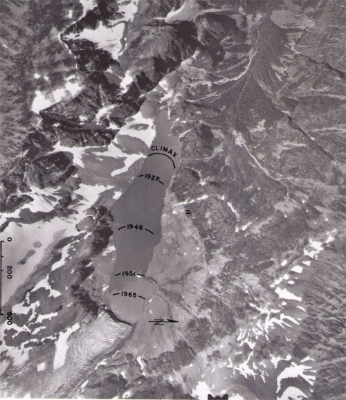 1973 aerial of Wedgemount Glacier terminus in lake basin. The trimline marks the former extent of the glaciers circa 1895, with various stages of recession also marked.  Interpretation by Karl Ricker.