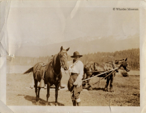 Myrtle with saddle horse and workhorse, ca. 1915. Philip Collection.