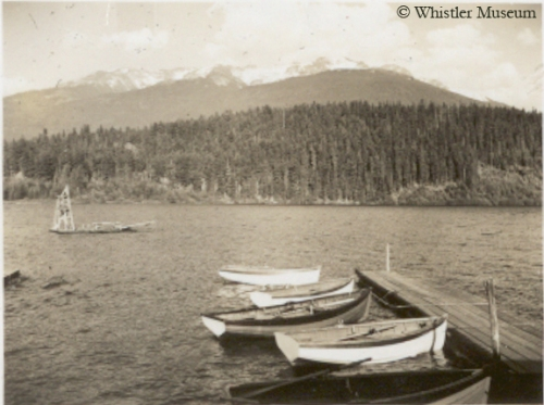 Alta Lake from Rainbow Lodge, 1944. Photograph by G.D. Cameron. Philip Collection.