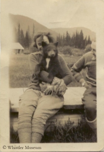 Pioneer Myrtle Philip holding Teddy the bear, 1926. Philip Collection.