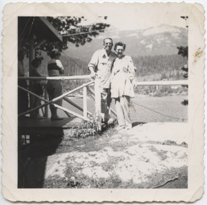 Cis and Jack Mansell on the porch of Hillcrest, ca. 1950.