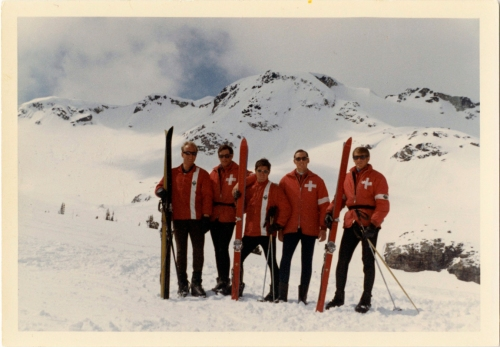 "The entire staff of Whistler Mountain ""Pro Patrol"" in 1968: L-R: George Bruce, Hugh Smythe, John Hetherington, Ian McDonald and Derek Henderson."