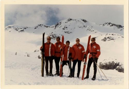 "The entire staff of Whistler Mountain ""Pro Patrol"" in 1968: L-R: George Bruce, Hugh Smythe, John Hetherington, Ian McDonald and Derek Henderson."