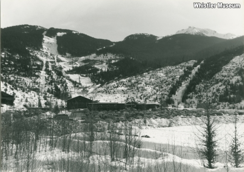 Parking lot and gondola at Creekside base, ca. 1980. Whistler Mountain Collection.
