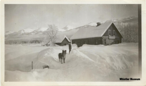 "Post office and store at Rainbow Lodge, 1914 or 1915. Verso reads ""First winter, 1914-1915."" Philip Collection."
