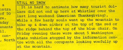 "The paper reports that due to the lack of snow, the lift company laid off about 12 employees. ""This together with the permanent staff that was not hired in mid-November as usual means that there are about 25 people out of work"" says that week's paper. December 1976, Whistler Museum, Question collection."