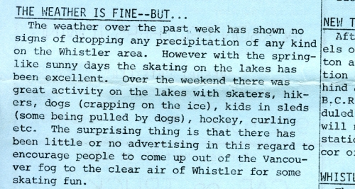 January 1977, Whistler Museum, Question collection.