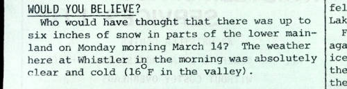 March 1977, Whistler Museum, Question collection.