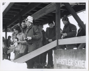 After an afternoon of skiing, the Prime Minister and his bride attended the Sunday Catholic service in the Whistler Skiers' Chapel. March 1971, Whistler Mountain collection