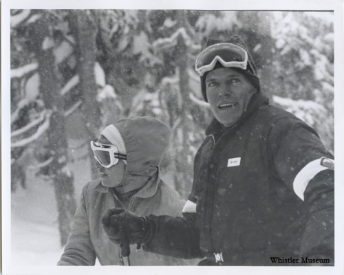 Mrs. Trudeau, the former Margaret Sinclair of West Vancouver, had a season's pass at Whistler and skied the mountain many times before her marriage. This photo shows her skiing with Jack Bright, General Manager of Whistler Mountain. March 1971, Whistler Mountain collection
