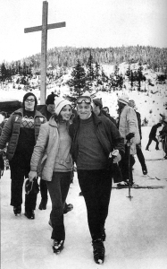 "Margaret included this photo of her honeymoon in her memoirs Changing My Mind and noted: ""Both athletes, we chose to spend our first day of marriage skiing at Whistler."" Source: Changing My Mind by M. Trudeau, Harper Collins Publishers"