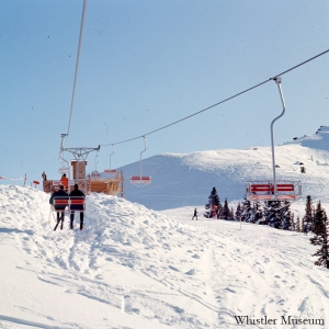 The original Red Chair in the 1970s, Whistler Museum, Whistler Mountain collection