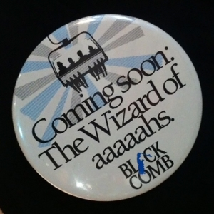 Original pin that was used to promote the new Wizard Chair at Blackcomb Mountain in 1985, Whistler Museum.