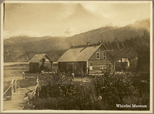 The early Rainbow Lodge with the ice house close by. It was later moved closer to Alta Lake to cut down on the distance that the ice needed to be hauled, Whistler Museum, Philip collection, 1919