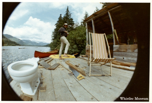 The Good Shit Lolly Pot on a raft at Alta Lake in the hippie summer of 1969, Whistler Museum, Benjamin Collection, 1969.