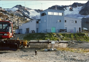 Home of the three musketeers: the Alpine Service Building with the Little Red Chair. Schoki patrols, and makes sure that everything is in order on top of Whistler Mountain. Photo courtesy: Janet Love Morrison, Gordy Rox Harder
