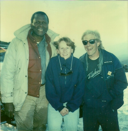 Living in the mountains can be magical – and sometimes even thrilling: Gordy and Janet met Sidney Poitier while filming a scene of the movie Shoot to Kill in the Little Whistler bowl on Whistler Mountain. Photo courtesy: Janet Love Morrison, Gordy Rox Harder