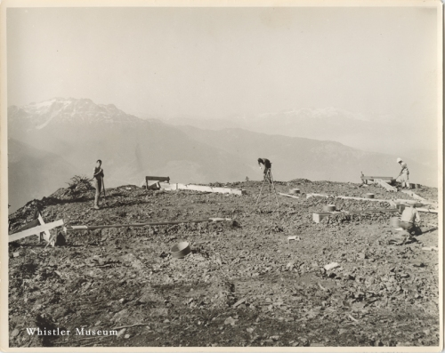 Laying foundations for the original Roundhouse. Whistler Museum, Whistler Mountain collection, 1966