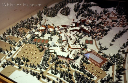This amazing scale model was produced to help visualize and plan the village before building. Note the planned hockey arena that instead ended up being the Conference Centre.