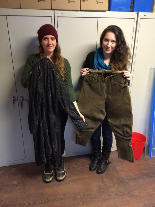 Museum staff with Myrtle's overcoat and riding pants.