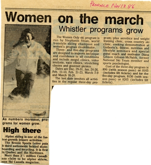 StephSloan024 - Province article Nov 1986 Women on the March