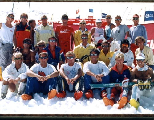 """A group shot of all the coaches at the Dave Murray Summer Ski Camp, circa late 1980s, including Mark Taylor, 3rd from left back row. The crew was a veritable """"who's who"""" of Canadian ski racing."""