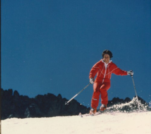 Nancy skiing on Blackcomb, circa 1980s.