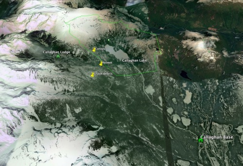 Google Earth image of the location of the T33 crash debris. GPS data courtesy Whistler Search & Rescue.